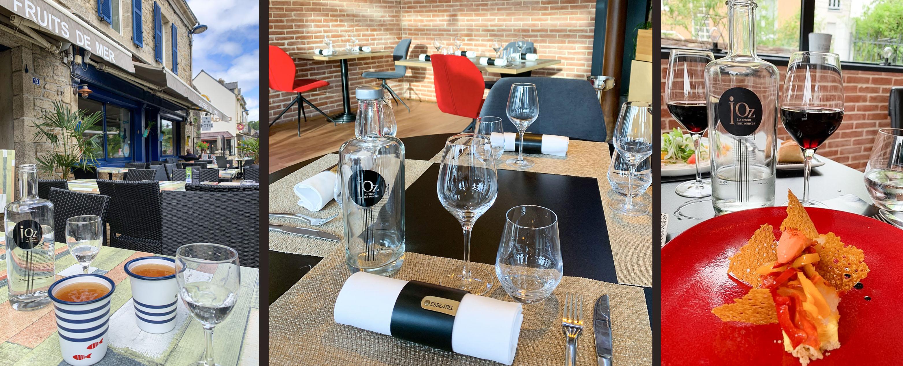 3 photos bouteilles iOz au restaurant en terrasse et à l'intérieur