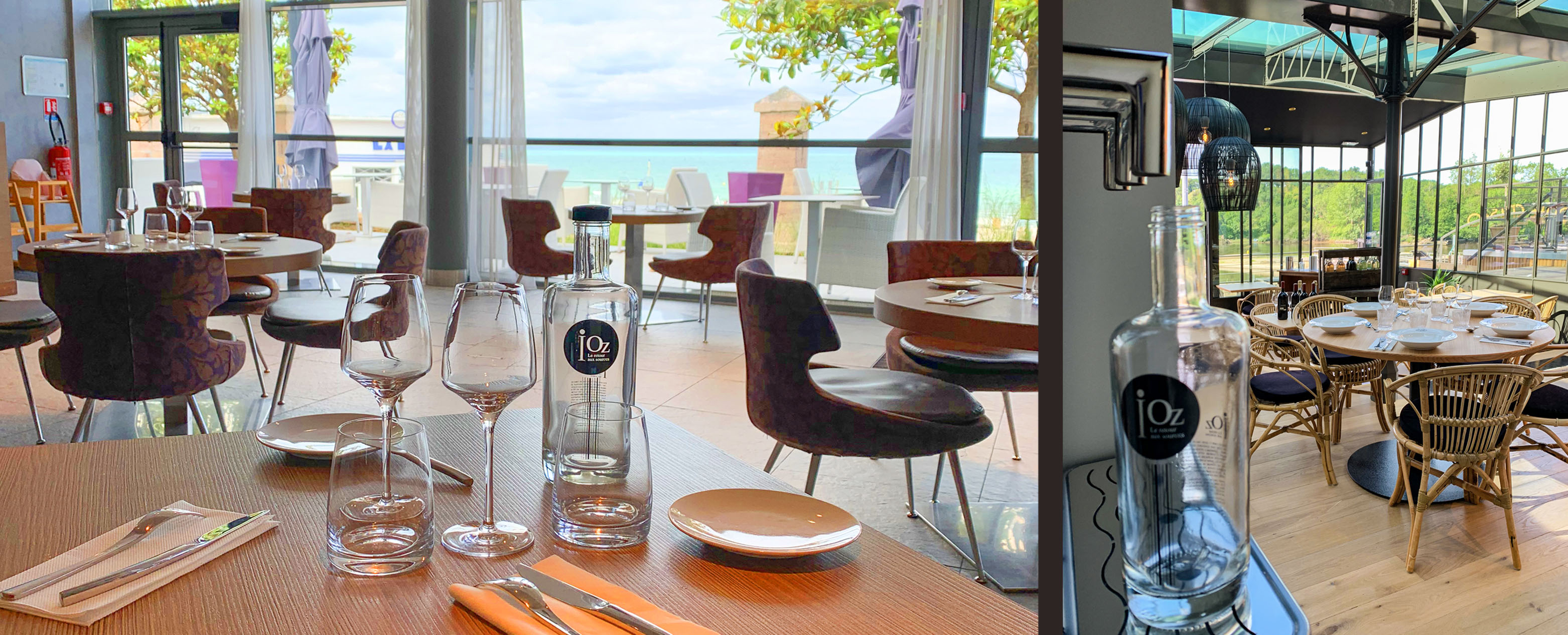 2 photos bouteilles iOZ au restaurant, une en plan large sur baie vitrée et une sur véranda