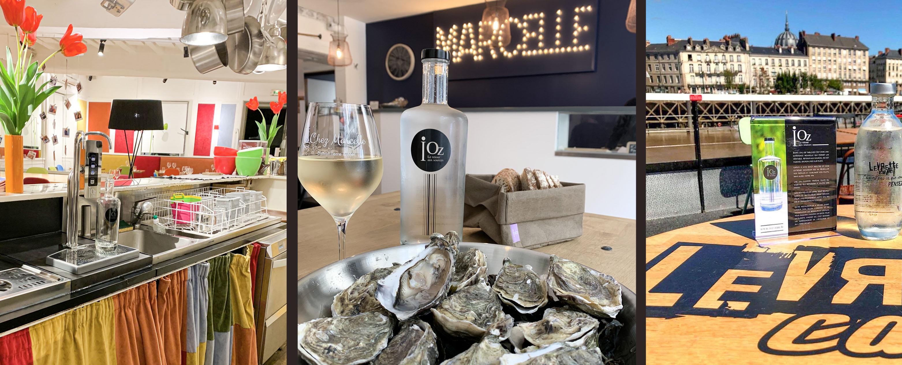 3 photos bouteille iOz au restaurant derrière le comptoir, présentée devant un plat d'huîtres et en terrasse