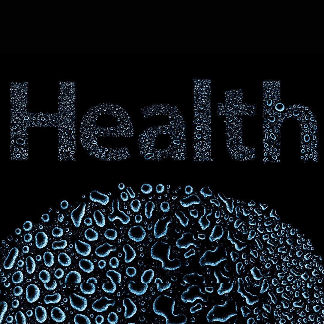 Health en gouttes d'eau sur fond noir