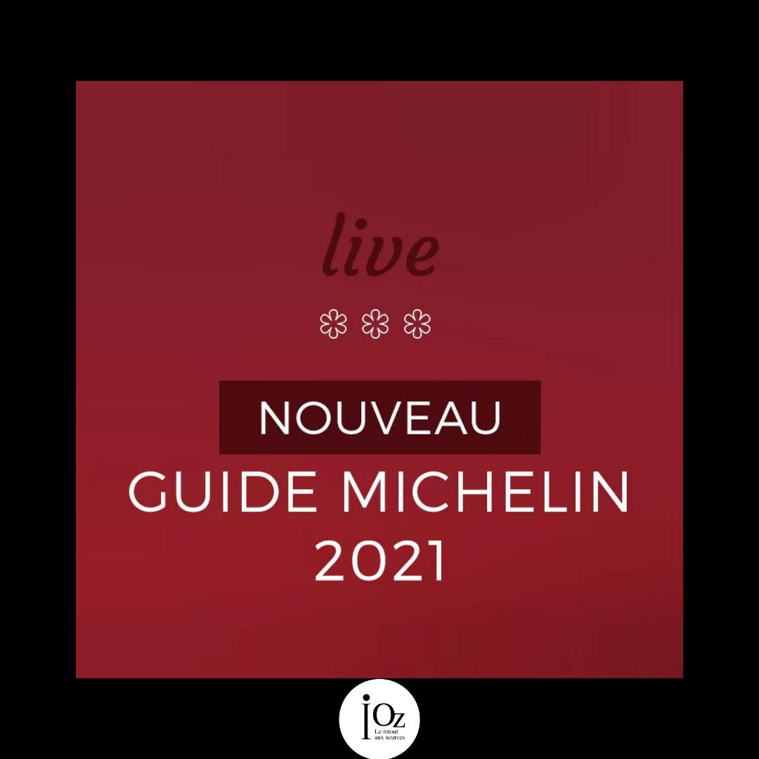 Annonce du nouveau guide Michelin 2021 sur fond rouge