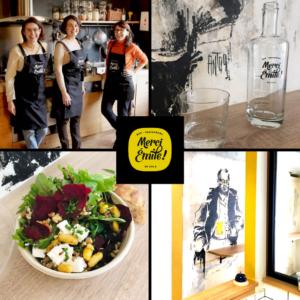 Montage de 4 photos du restaurant Merci Emile avec son logo au centre