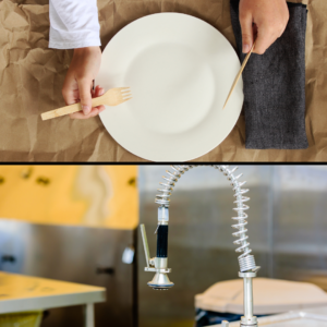 assiette et couverts en bambou et un robinet avec mitigeur pro