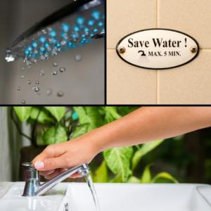 """Montage de 3 images avec mitgeur de douche, petit panneau """"save the water"""" et une main qui coupe l'eau du robinet"""