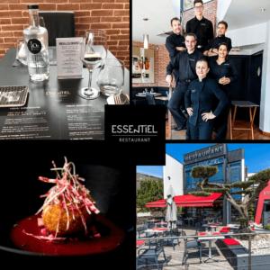 Quatre photos du restaurant Essentiel avec le logo du restaurant au centre