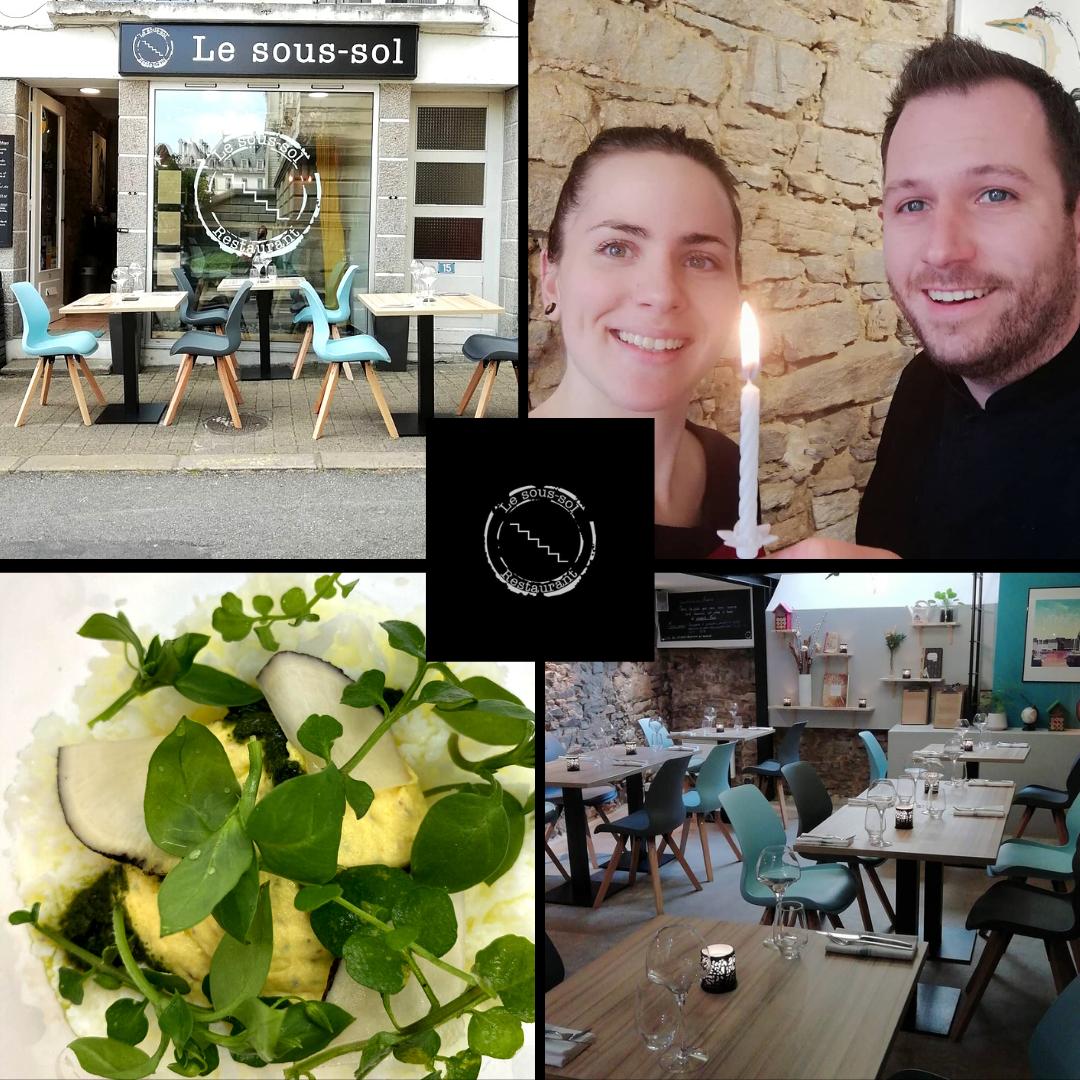 Quatre photos du restaurant le Sous-sol avec le logo du restaurant au centre