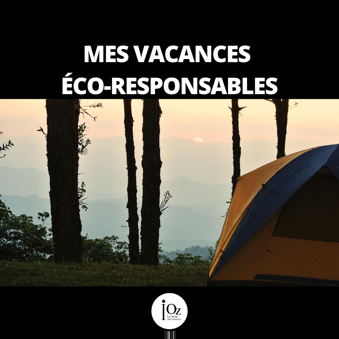 """Tente dans la forêt avec le titre """"Mes vacances éco-responsables"""""""